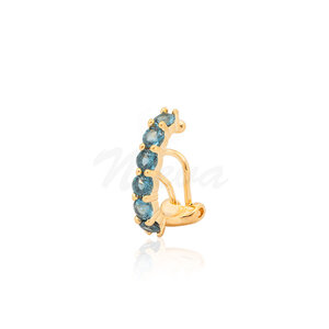 Brinco Piercing Sofia London Blue Ouro