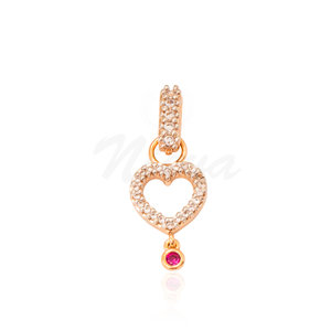Pingente Coração Pink Ouro (com fecho)