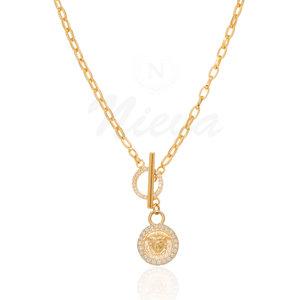 Colar Medalha Medusa Ouro