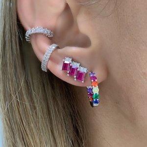 Brinco Ear Cuff Quadradinho Pink Prata