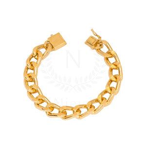 Pulseira Corrente Grossa Grumet Fecho Cadeado Ouro (Tamanho P / Tamanho M)