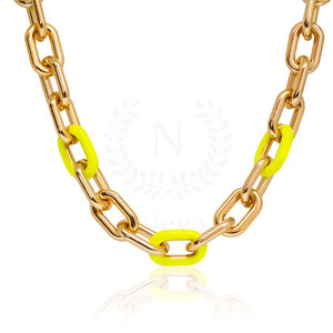 Colar Elos Amarelo Neon