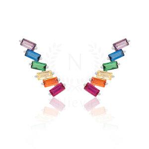Brinco Ear Cuff Navete Rainbow Prata 925