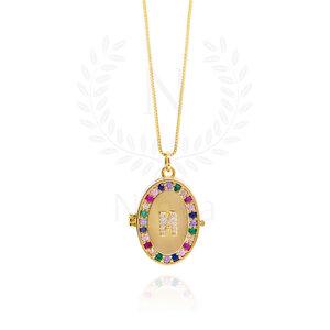 Colar Relicário Rainbow Ouro - ( Medida da Corrente: 45 cm / 60 cm / 90 cm)