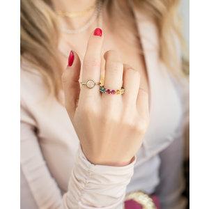 Anel Quartzo Rosa Pedra Natural Ouro