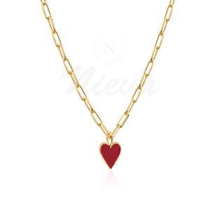Colar Coração Red M Esmaltado Ouro