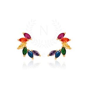 Brinco Ear Cuff Navete Rainbow Ouro (Prata 925)