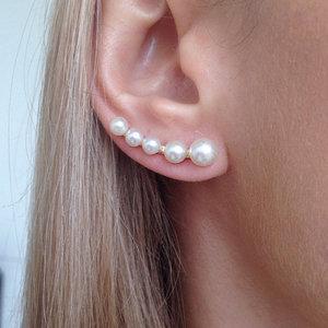 Brinco Ear Cuff 5 Pérolas Ouro