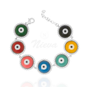 Pulseira Olhos Gregos Coloridos Prata 925
