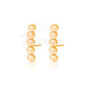 Brinco Ear Hook New Bolinhas Ouro