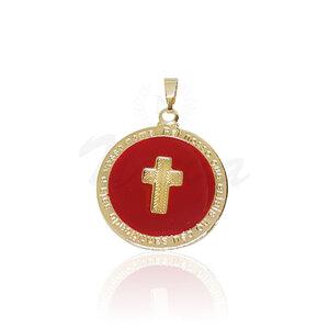 Pingente Medalha Cruz Red Ouro