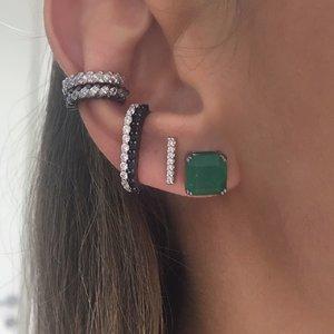 Brinco Ear Hook Palito Pressão Negro