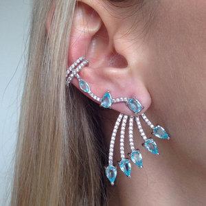 Brinco Ear Cuff Luxo Água Marinha