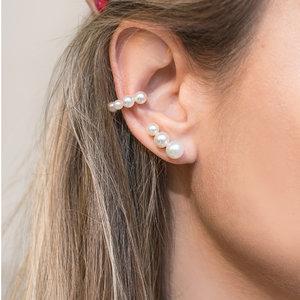Brinco Ear Cuff 3 Pérolas Ouro
