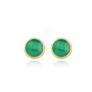 Brinco Ágata Verde Pedra Natural Ouro