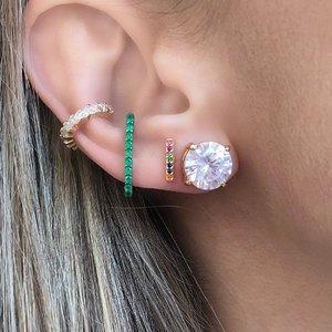 Brinco Ear Hook Palito Negro Esmeralda