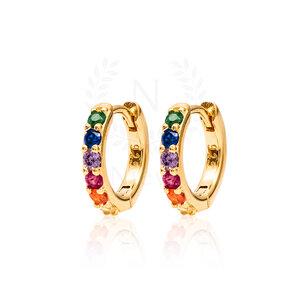 Brinco Argola Sarah Rainbow Ouro (Prata 925)