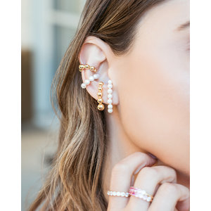 Brinco Ear Hook Pérolas Ouro