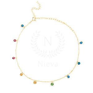 Colar Choker Pontos Tiffany Rainbow Ouro