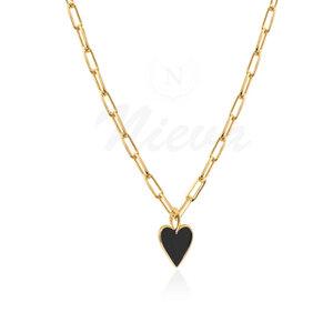 Colar Coração Black M Esmaltado Ouro