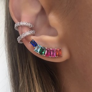 Brinco Ear Cuff New Rainbow Prata