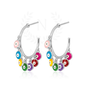 Brinco Argola Olho Grego Rainbow Prata 925