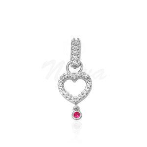 Pingente Coração Pink Ródio (com fecho)