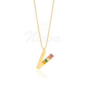 Colar Letra Rainbow Ouro - Sob Encomenda (PRAZO DIFERENCIADO DE ENTREGA)