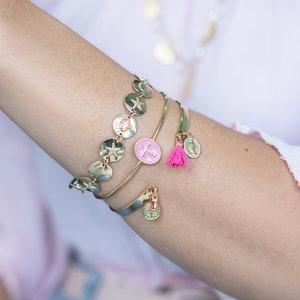 Bracelete Tassel São Bento Rosa Ouro