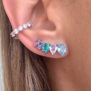 Brinco Ear Cuff Gota Rainbow