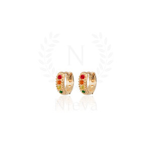 Brinco Argola Cravejado PP Rainbow Ouro (Prata 925)