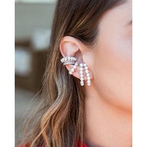 Brinco Piercing Luxo Pérolas Cravejado Prata