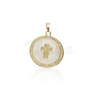 Pingente Medalha Cruz Perolado Ouro