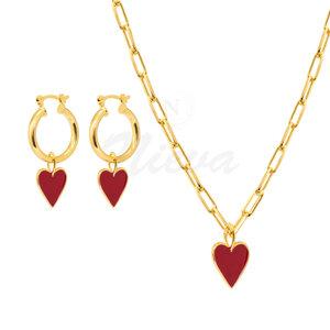 Conjunto Coração Esmaltado Red M Ouro