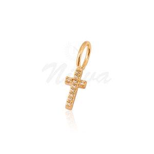 Pingente Cruz Cravejado Ouro