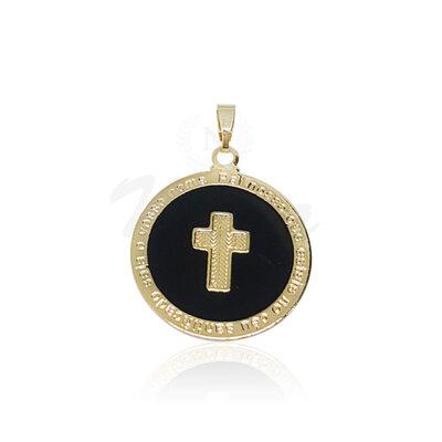 Pingente Medalha Cruz Black Ouro