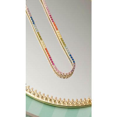 Colar Riviera Rainbow Ouro (Prata 925) - 40 cm - 2 mm