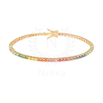 Pulseira Riviera Colors Rainbow Ouro (Prata 925)