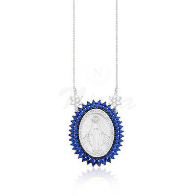 Colar Medalha Nossa Senhora das Graças Safira Ródio Lala Inspired