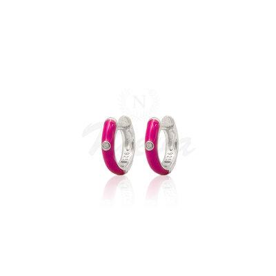 Brinco Argola Esmaltada Pink Prata 925