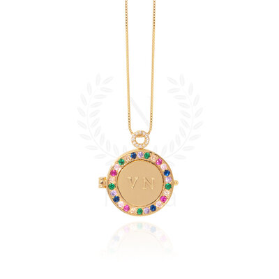Colar Relicário Mandala Ouro Rainbow (Sob encomenda)
