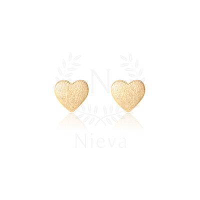 Brinco Coração Fosco Ouro (Prata 925)