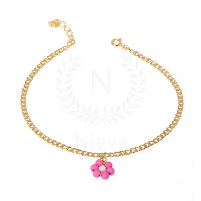 Tornozeleira Florzinha Rosa Ouro