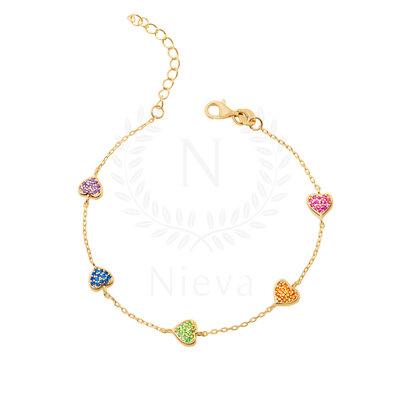 Pulseira Coraçãozinho Rainbow Ouro (Prata 925)