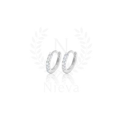 Brinco Argola Lila Cravejado Prata 925 (Escolha o seu tamanho)