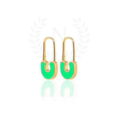 Brinco Alfinete Verde Neon Ouro