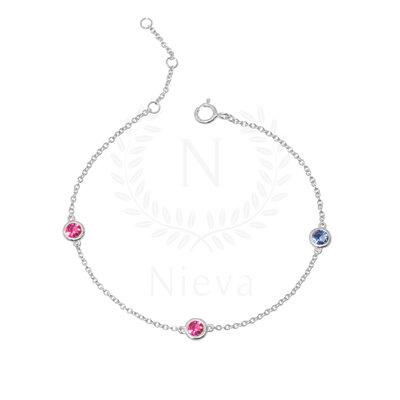Pulseira Pontos Rosa e Azul Prata 925