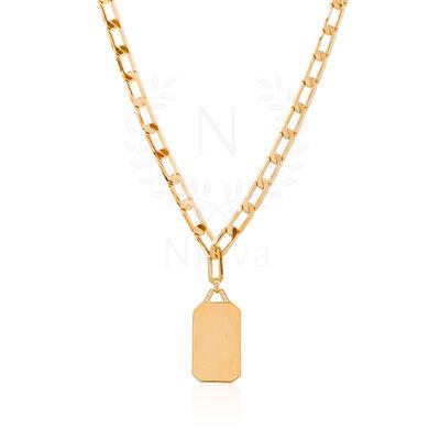 Colar Corrente Placa Ouro (51 cm | Elo 1,4 cm)