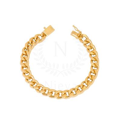 Pulseira Corrente Fina Grumet Fecho Cadeado Ouro (Tamanho P / Tamanho M)