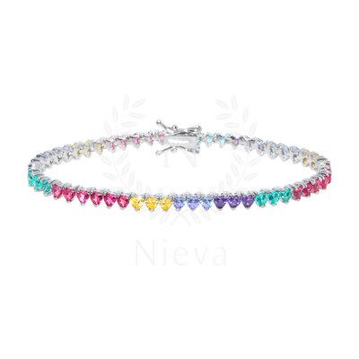 Pulseira Riviera Coraçãozinho Rainbow Prata 925